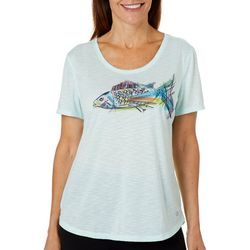 Reel Legends Womens Sketchy Fish Graphic T-Shirt