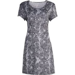 Reel Legends Womens Black And White Palm Tree Print Dress
