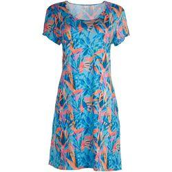 Reel Legends Womens Coloful Print Dress