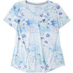 Reel Legends Womens Floral Print V-Neck Top