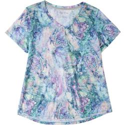 Womens Colorful Print V-Neck Top