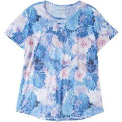Reel Legends Womens Floral Keyhole T-Shirt