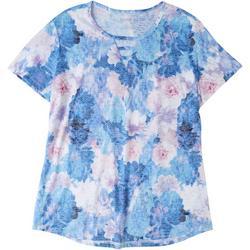 Womens Floral Keyhole T-Shirt