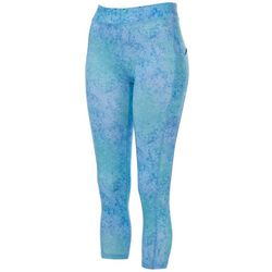 Gillz Womens Marble Print Side Pocket Capri Leggings