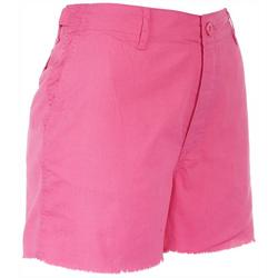 Womens Four Button Frayed Shorts