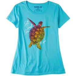 Womens Solid Short Sleeve With Turtle Print