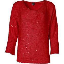 Nue Options Womens Solid Sequin Bell Sleeve Top