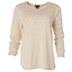 Nue Options Womens Solid Embellished Long Sleeve Top