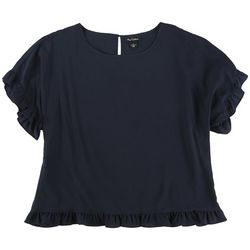 Nue Options Womens Solid Frilled Short Sleeve Top
