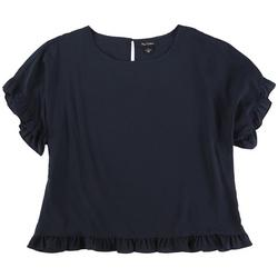 Womens Solid Frilled Short Sleeve Top