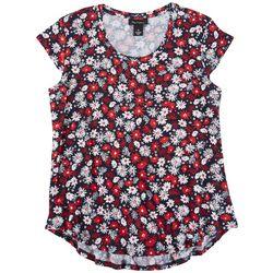 Nue Options Womens Flower Print Cap Sleeve Top
