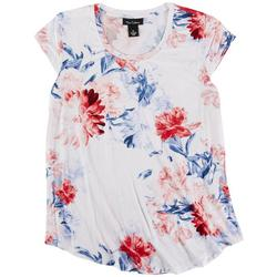 Womens Americana Floral Cap Sleeve Top