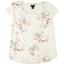 Nue Options Womens Pretty Floral Print Cap Sleeve Top