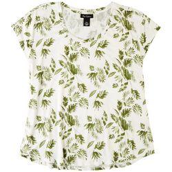 Nue Options Womens Leaf Print Cap Sleeve Top