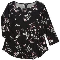 Nue Options Womens Floral Print 3/4 Sleeve Top