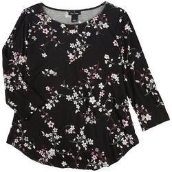 Womens Floral Print 3/4 Sleeve Top