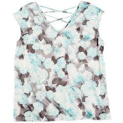 Nue Options Womens Floral Print Cap Short Sleeve Top