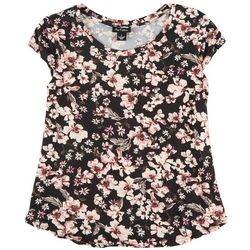 Nue Options Womens Floral Short Sleeve Top