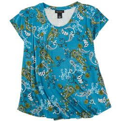 Nue Options Womens Floral Print Cap Sleeve Top