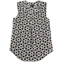 Womens Black And White Chain Print Top