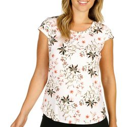 Nue Options Womens Tropical Print Cap Sleeve Shirt