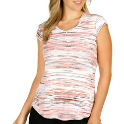 Nue Options Womens Striped Cap Sleeve Top