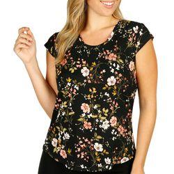 Nue Options Womens Dark Floral Print Cap Sleeve Top