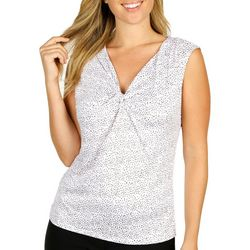 Nue Options Womens Dotted Twist Neckline Top