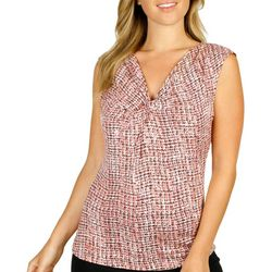 Nue Options Womens Print Twist Neckline Top