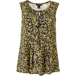 Nue Options Womens Floral Print Key Hole Tie Top