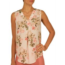 Nue Options Womens Rose Garden V-Neck Sleeveless Top