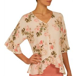 Nue Options Womens Rose Garden Ruffle Sleeve Top