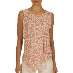 Womens Ditsy Flower Ruffle Sleeveless Top