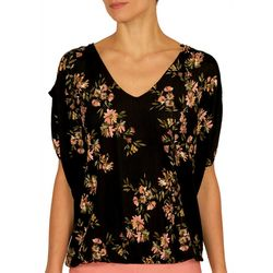 Nue Options Womens Blossom Cap Sleeve V-Neck Top
