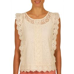 Nue Options Womens Flower Lace Sleeveless Top