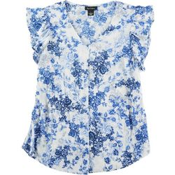 Nue Options Womens Blue Floral Print V Neck Top