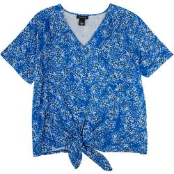Nue Options Womens Flower Print Short Sleeve Top with Tie