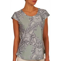 Nue Options Womens Paisley Rounded Neck Top