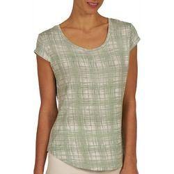 Nue Options Womens Plaid Print Cap Sleeve Top