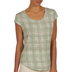 Womens Plaid Print Cap Sleeve Top