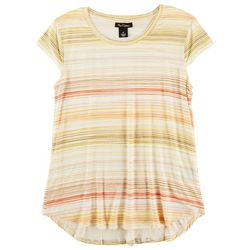 Nue Options Womens Striped Cap Sleeve Shirt