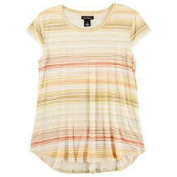 Womens Striped Cap Sleeve Shirt