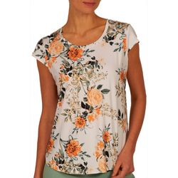 Nue Options Womens Floral Print Cap Sleeve Top