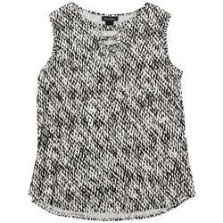 Womens Black And White Printed Sleeveless Top