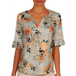 Nue Options Womens Pleated Sleeves Top