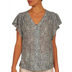 Womens All-Over Flowes Flowy Top