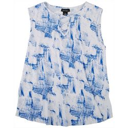 Nue Options Womens Printed V-Neck Sleeveless Top