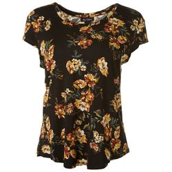 Nue Options Womens Dark Floral Print Scoop Neck Top