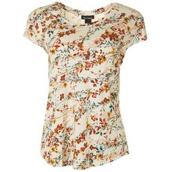Nue Options Womens Floral Vine Print Cap Sleeve Top