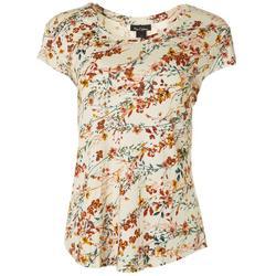 Womens Floral Vine Print Cap Sleeve Top